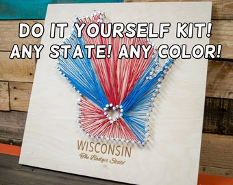 "State String Art Kit, DIY, 15""x15"", Includes Nails and String, Any State, Any Color"