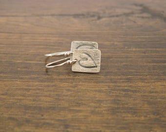 Heart Stamped Earrings - Silver Earrings - 925 - Silver - Heart Earrings - Handmade - UK