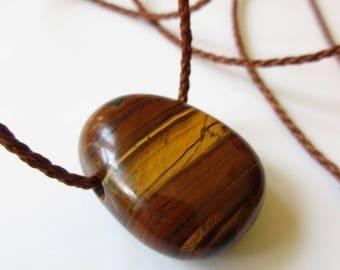 Tiger Eye Brown Threads Pendant handmade with natural Tiger Eye stone