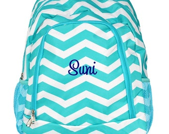 Personalized Backpack | School Backpack | Monogrammed Backpack | Girls Backpack | Teen Backpack | Kids Backpack | Aqua Chevron Backpack