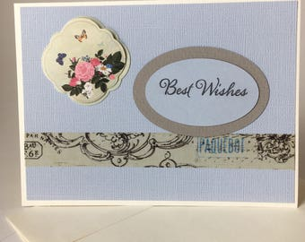 Best Wishes Greeting Card - Blank Inside - 4.5 x 6.25 - Floral -Ready to Ship