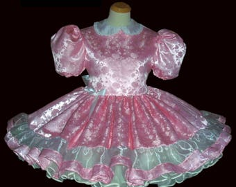 Adult Sissy Princess Dress, Adult Sissy Clothing ABDL, Crossdresser, Lolita Dress, Sissy Pink Satin Dress, Adult Sissy Panties, Sissy Girl