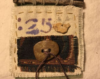 Textile Art Brooch with Twig