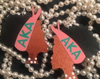 Alpha Kappa Alpha Inspired Earrings Sorority Girls Women AKA National Panhellenic Greek Letters Pink And Green - Skee Wee- Pretty Girl Girls
