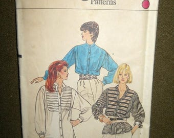BACK TO SCHOOL Vintage 80's Long Tunic Pleated Yoke Blouse Pattern sz12