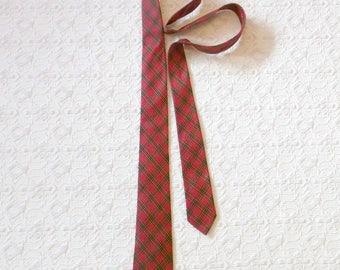 Vintage Red Silk Tartan Plaid Skinny Tie