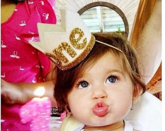1st Birthday Girl Outfit || 1st Birthday Crown Headband ||  First Birthday Crown || First Birthday Cake Smash || White felt + Gold
