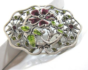 Vintage Catherine Popeco Purple And Green Enamel And Swarovski Crystal Floral Filigree Brooch-Made In France