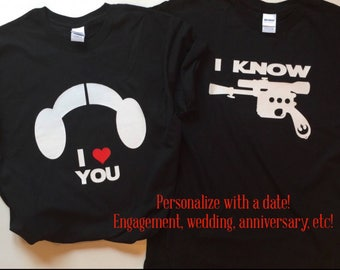 Star Wars Princess Leia Han Solo I Love You I Know matching tees, his and hers Star Wars t-shirts, anniversary gift shirts, funny Star Wars