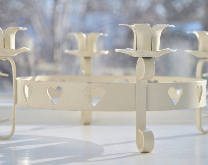 Swedish Iron Heart Candle Holder White Gustavian