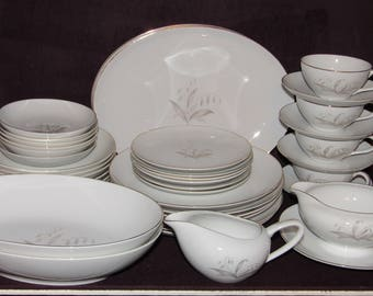 41 Pc Kaysons GOLDEN RHAPSODY Dinner Set, Service For 6, Dinnerware Set, Plates, Bowls, Servings, Cups, Saucers