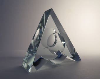 Jaroslav Svoboda art glass sculpture -- modernist azur art glass triangular object with concave lens -- Czech art glass