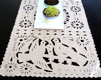 Mexican Wedding Decoration, Peach Table Runner, Papel Picado, Fiesta Party, Mexican  Style