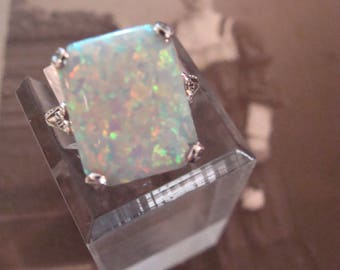 Lovely Sterling Silver Filigree Opal Ring  Size 7 Victorian design