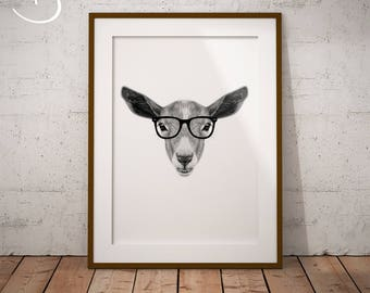 GOAT, HIPSTER Goat Drawing download, Goat Wall decor, Hipster Goat Print, Printable Goat Poster, Goat Decor, Hipster Animal Print, Hipster