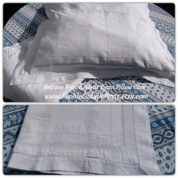 2 Victorian Plain White Pillow Cases Handmade French Metis Linen with Cut Works #sophieladydeparis