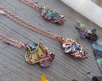 rainbow bismuth crystal wire wrapped in pure copper pendant necklace with adjustable leather chord or copper chain pure element small
