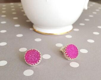 Large Pink Druzy Earrings | Pink Druzy Quartz Stud Earrings | Hot Pink Druzy Studs | 10MM Druzy Studs | Drusy | Bezel Set in Sterling Silver