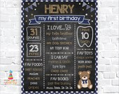 Teddy Bear Printable Chalkboard Sign - Milestone Poster - Instantly Download and Edit at Home with Adobe Reader - 1st 2nd 3rd Birthday TB15