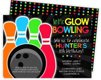 Glow Bowling Invitations, Bowling Invitation, Glow Bowl Invites, Neon Bowl, Bowling Party Invitation, Bowling Invite, Bowling Birthday | 445