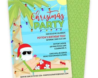 Beach Christmas Invitation, Beach Santa Invitation, Beach Christmas Invite, Santa Birthday Invitation, Christmas In July, Santa | 629
