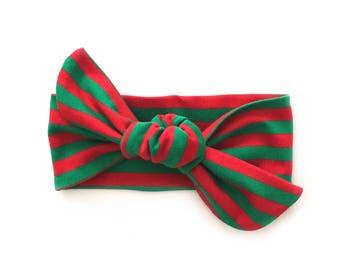 Christmas top knot, baby girl Christmas headband, baby girl Christmas outfit, baby turban, baby headband, toddler Christmas headband