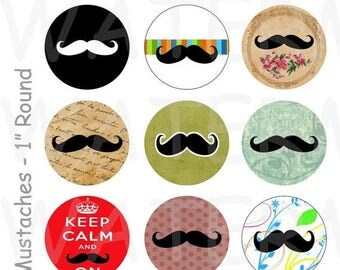 SALE- Mustaches - 4 x 6 Digital Collage Sheet  - 1 inch Round Circles - INSTANT DOWNLOAD