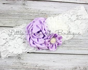 RTS lavender and white lace headband {purple and white, purple lace headband, light purple and white, toddler headband}