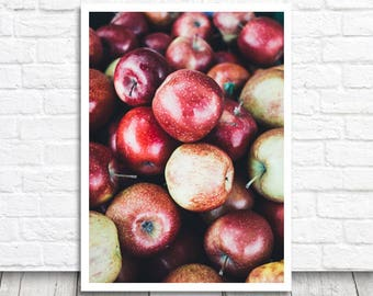 Apple Photo Print, Apple Print, Photo Printable Wall Art, Photo Download, Kitchen Print, Food Print, Fruit Print, Apple Poster, Kitchen Art