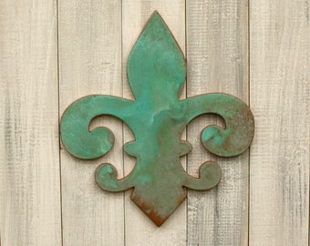 Patina Fleur de lis, Verdigris decor, Verdigris wall decor, French decor, Fleur de lis wall art