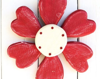 Valentines Wreath, Red Heart Wreath, Valentines Day Decor, Red Wreath, Wood Heart, Red Heart Wall Decor, Red Heart Wreath Front Door