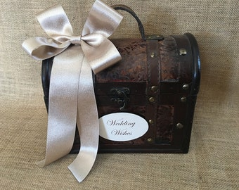 Pick your ribbon color - Small Wedding Wishes Trunk, Wedding Advice Box, Guest Book Alternative, Wishing Well, Wish Tree, Rustic Wedding