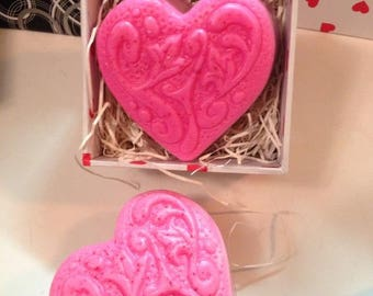 Ornate HEART Shaped Soap ( variety options) Handmade by SPA Uptown. Pick an Option