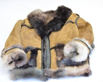 Toskana campobasso multi color shearling coat