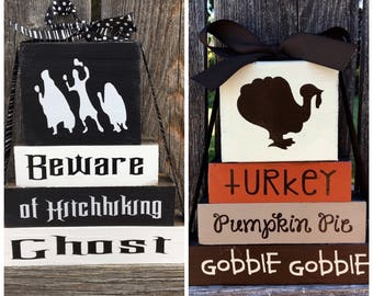 SALE--REVERSIBLE Halloween and Thanksgiving wood blocks--Beware of hitchhiking ghost reverses with Turkey, Pumpkin Pie, Gobble