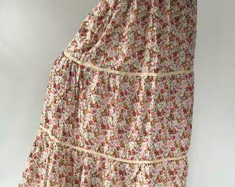 SK0108 Flora Maxi Skirt, Beach Flora Pink boho, Bohemian Skirt. Long skirt, boho style, maxi Beach Skirt, floral skirt,