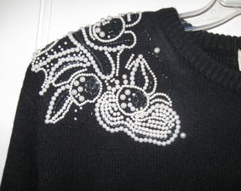 Vintage Just-Mort Black Sweater Dress With Pearls Galore White Pearls Black Beads