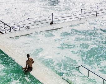Beach photography, Beach print,Bondi Beach print, Bondi Icebergs, swimmer,waves, ocean photography