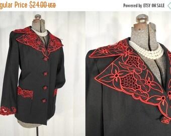 Vintage 1950s Blazer - Black Red 50s Lace Blazer XL Large