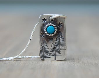 Blue Moon Necklace. Sterling Silver Turquoise Necklace . In the Woods . Stars .  Necklace. Handmade . Rustic . Earthy . Boho .