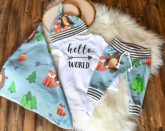 Gender Neutral Coming Home Outfit Baby Boy Coming Home Outfit: Organic Cotton Woodland Animal Pants, Knot Hat, Hello, World Bodysuit