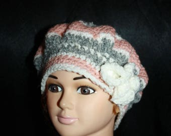 fancy hat, very warm, pink, grey and white