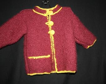 coat baby hand knitted mi_saison 2years