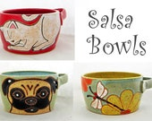 Salsa bowl, guacamole bowl, ceramic bowl, cat decor, pug, Christmas gift idea, holds 3 cups and is dishwasher, microwave and oven safe.