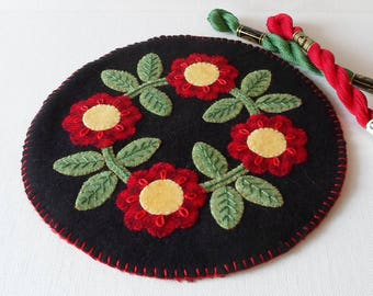 Handmade Round Felted Wool Red Posies Candle Mat Table topper