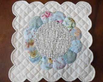 Handmade Shabby Style EPP Table Topper Cotton Quilted Placemat OOAK