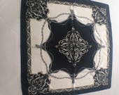 Vintage Silk Black and White Scarf Made in Italy