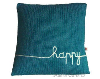 Knit design, blue duck and Word pillow cover