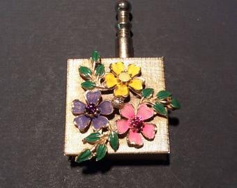RESERVED-Vintage enamel flower and rhinestone purse ashtray