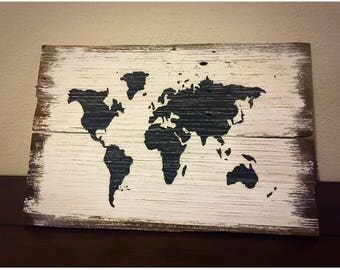 100+ year old reclaimed redwood painted map sign (11x17.5)
